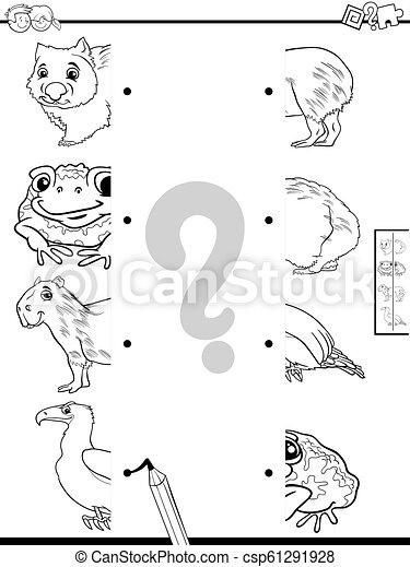 Coinciden con la mitad de las fotos del libro de colores de animales - csp61291928
