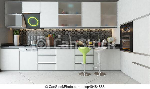 Color, de madera, diseño, blanco, muebles, cocina. Cerámico ...