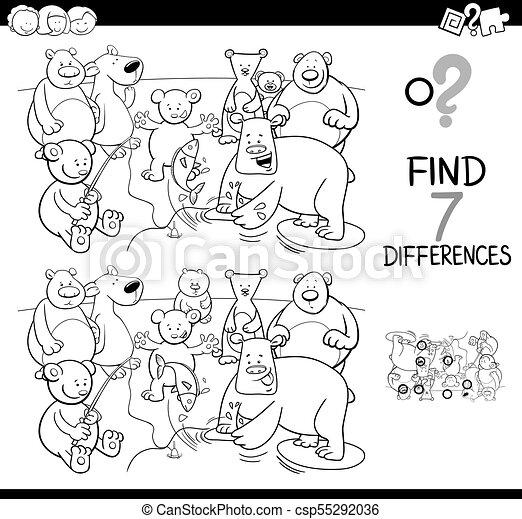 Color, diferencias, oso, juego, libro, caracteres. Siete, colorido ...