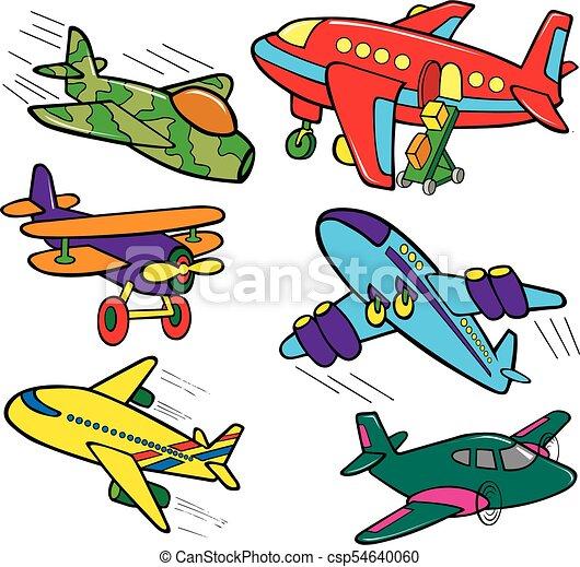Color, diferente, aviones, caricatura. Color, diferente, conjunto ...