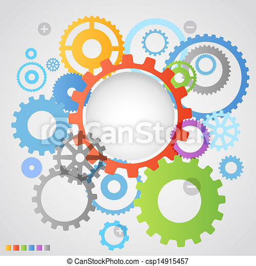 Color different gear wheels abstract background - csp14915457