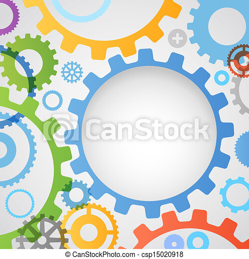 Color different gear wheels abstract background - csp15020918