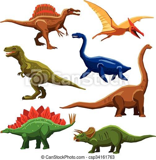 Color, dinosaurios, iet, iconos. Estilo, conjunto, iconos, color ...