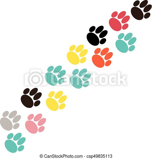 Color dog paws on white background - csp49835113