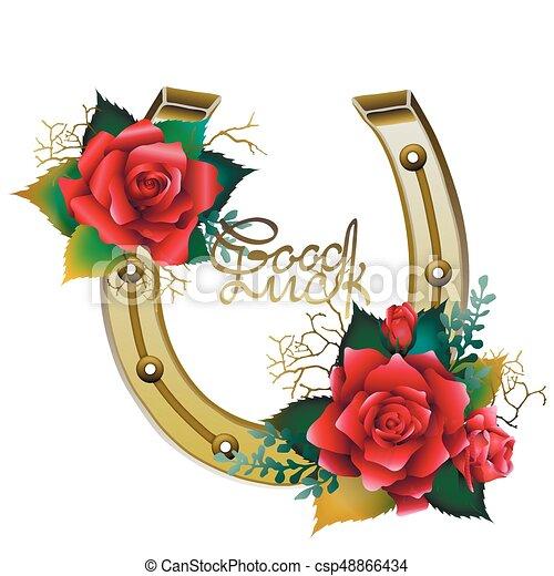 Color Dorado Herraduras Rosas Rojas