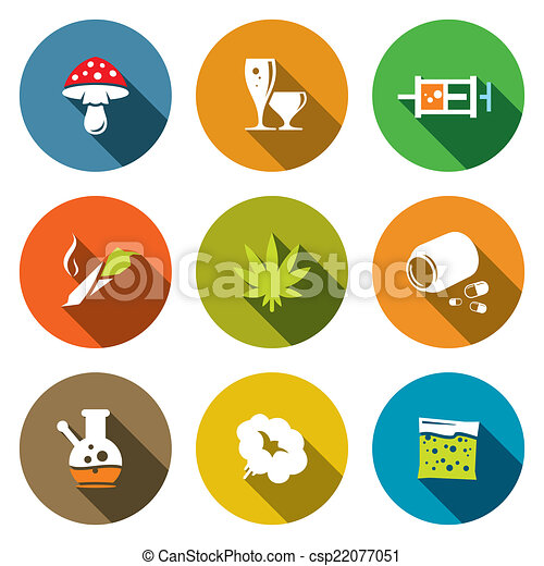 color drugs flat icon collection drugs icon set on a colored background https www canstockphoto com color drugs flat icon collection 22077051 html