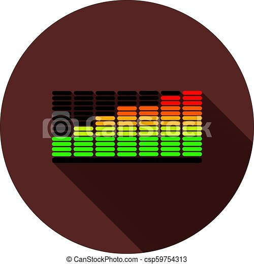 Color equalizer icon with shadow on a circle of dark red color, vector - csp59754313