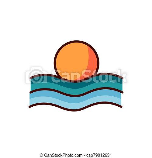color, escenas, línea, verano, ondas, sol, estilo, mar - csp79012631