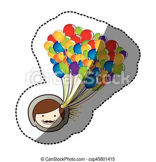 color face man with balloons in the head - csp45801415