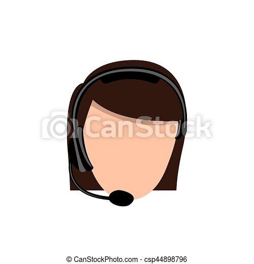 color face woman technological services icon - csp44898796