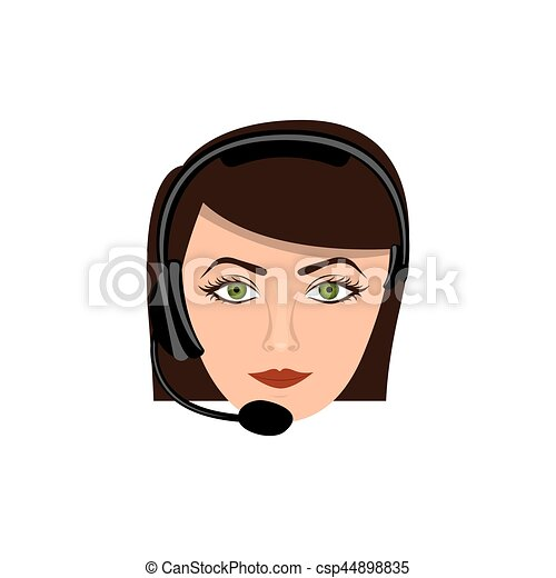 color face woman technological services icon - csp44898835