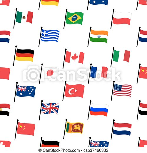 color flags of different country seamless pattern eps10 - csp37460332