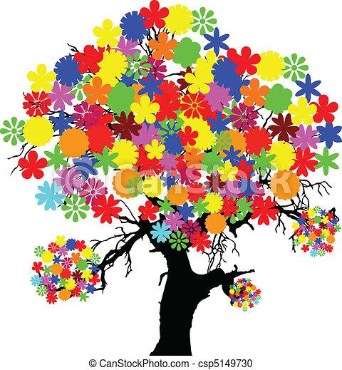 Color Flor árbol Ilustración
