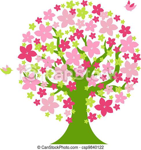 Color Flores árbol Aves Vector árbol Aislado Ilustración