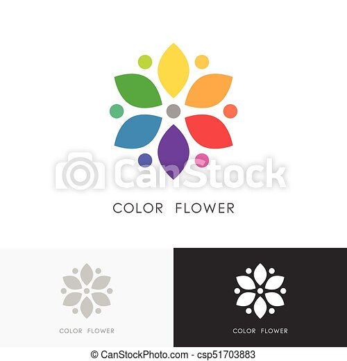 Color Flower Logo Bright Colored Blossom With Petals Or Colour