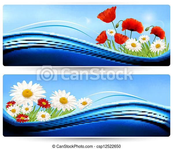 Estandartes naturales con flores de color. Vector. - csp12522650
