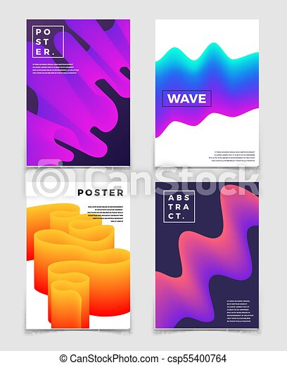 Color Fluid Dynamic Shapes Cool Vector Abstract Backgrounds Set