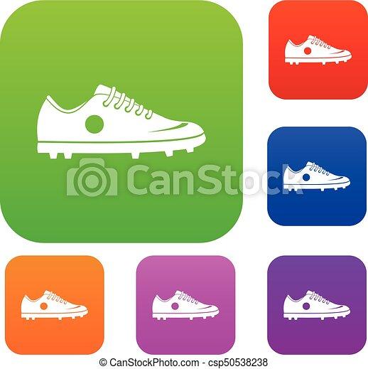Color, futbol, conjunto, zapato, colección. Plano, estilo, estilo, estilo, conjunto 874d5f