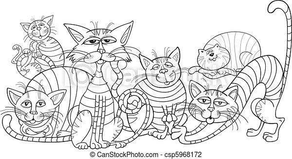 Grupo de gatos de color para libros de colorear - csp5968172