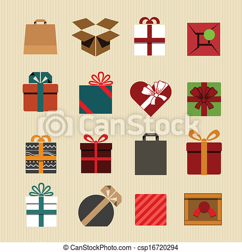 Color gift boxes icons collection. Retro style  - csp16720294
