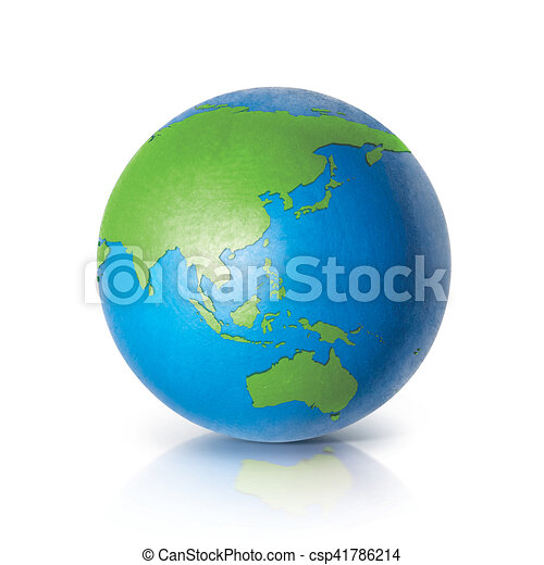 Australia Map Globe.Color Globe 3d Illustration Asia Australia Map