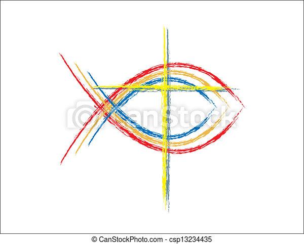 Color Grunge Christian Fish Symbols - csp13234435