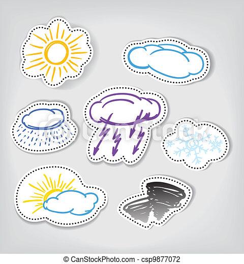 Los iconos de colores del clima hechos a mano - csp9877072