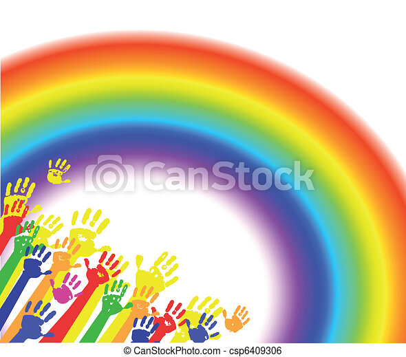 Color hands palms with rainbow - csp6409306