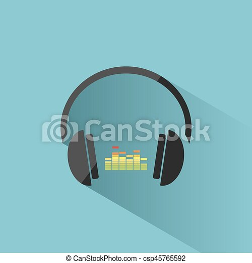 Color headphones with music icon on blue background and shadow - csp45765592
