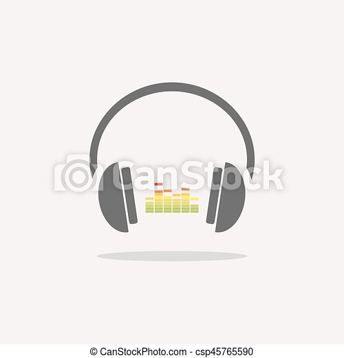 Color headphones with music icon on beige background - csp45765590
