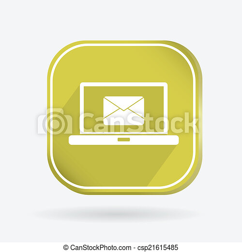 Color icon. laptop with letter envelope - csp21615485