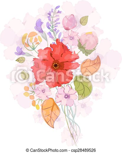 Color illustration of flowers - csp28489526