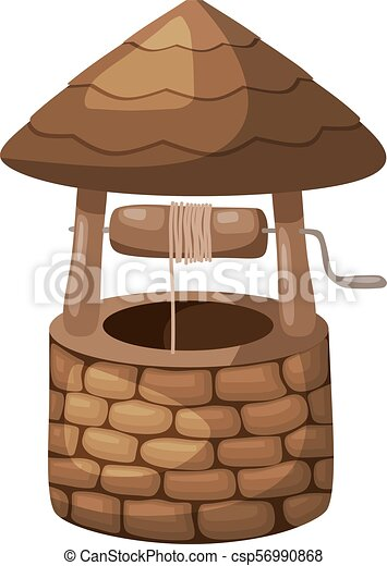 Color image of a simple well with a roof on a white background in the style of a cartoon. Vector illustration - csp56990868