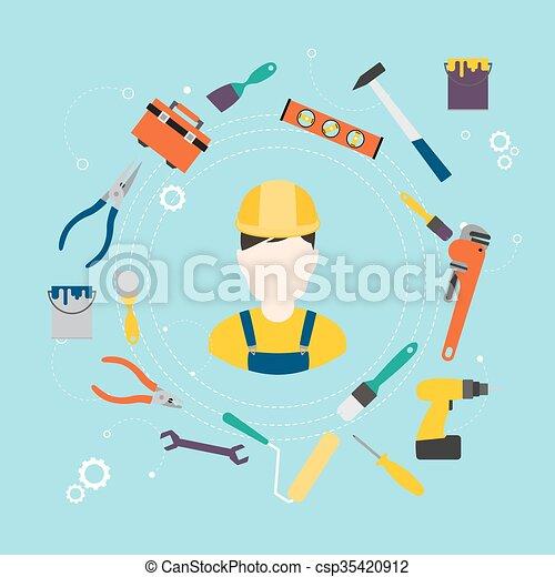 Constructor y herramientas de color para reparar y mejorar el hogar. Ilustración de vectores. - csp35420912