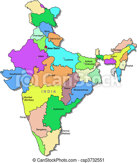 colour picture of indian map Color India Map With Regions Over White colour picture of indian map