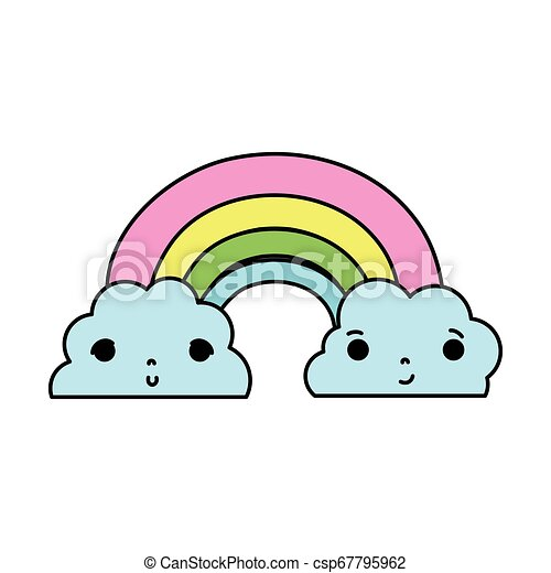 color kawaii cute rainbow and clouds weather - csp67795962