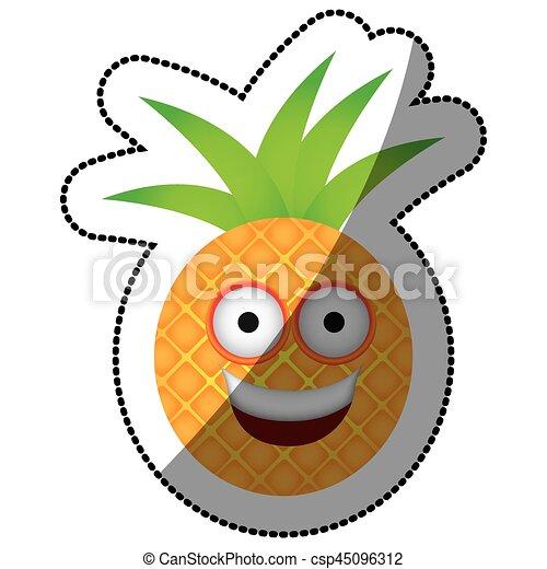 color kawaii fruit pineapple happy icon vector illustration rh canstockphoto com kawaii clip art free kawaii clipart etsy