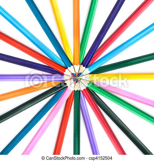 color, lápices, blanco, aislado - csp4152504