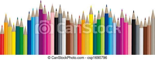 color, lápices, imagen, vector, - - csp1690796