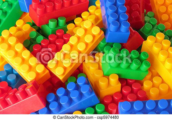 color, ladrillos, juguete, plano de fondo - csp5974480