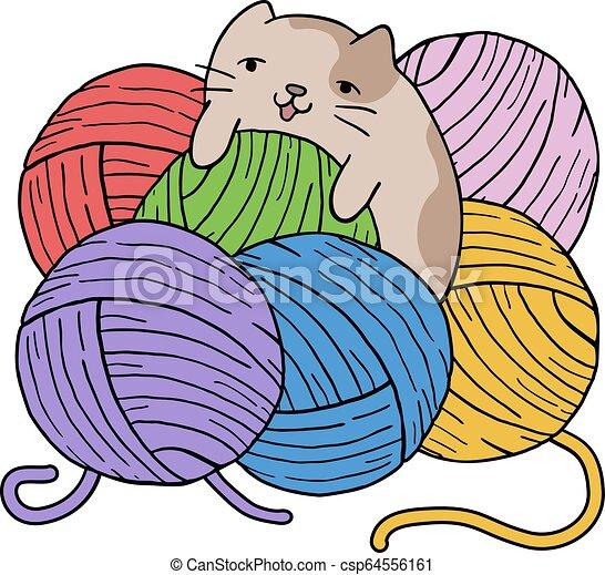 Gato con bolas de color de lana - csp64556161