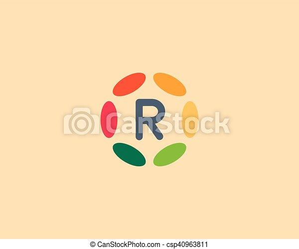 Color letter R logo icon vector design  Hub frame logotype