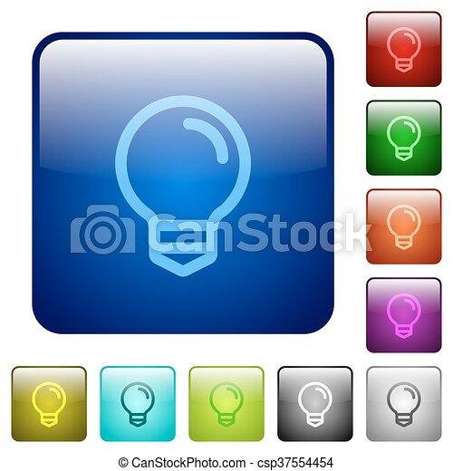 Color light bulb square buttons - csp37554454