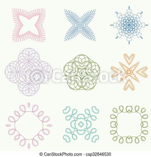 Color line art ornament design - csp32846530