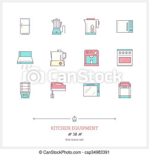 Color line icon set of kitchen equipments objects, tools and elements. - csp34983391