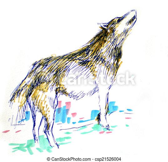 Color Lobo Dibujo Color Pluma Del Marcador Lobo Dibujo