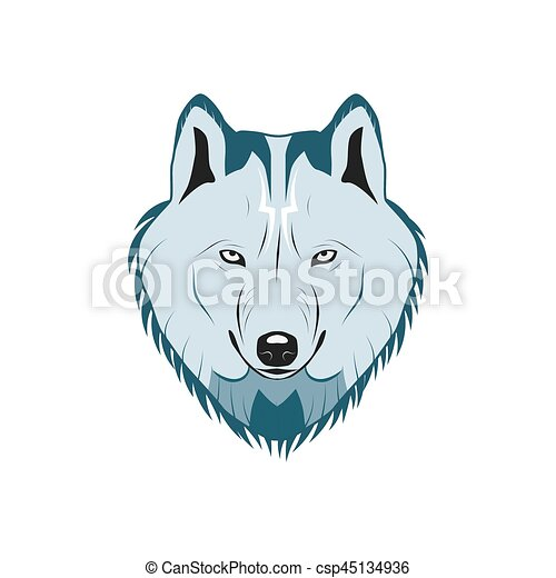 Color Logotipo Cabeza Lobo Cabeza Color Ilustración Vector