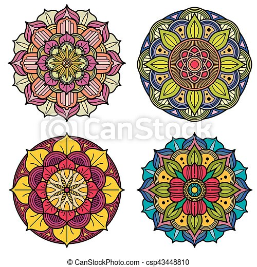 color mandalas indian and chinese floral vector patterns set of