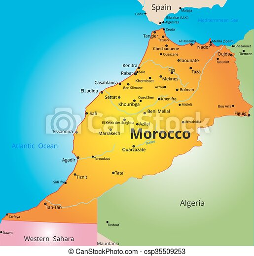 Color map of morocco country Vector color map of kenya clipart