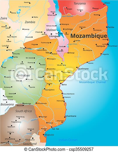color map of Mozambique country - csp35509257